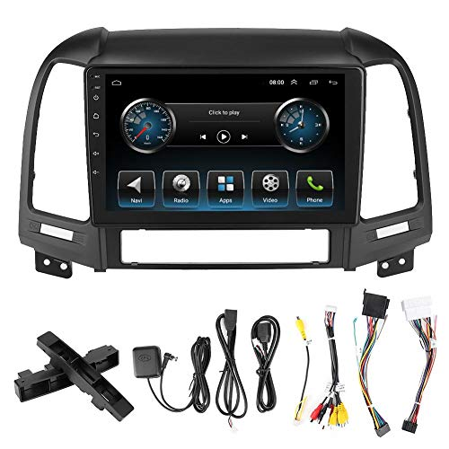 EBTOOLS Navegación GPS para coche, 9in 2Din Navegación GPS Reproductor MP5 Multimedia para Android 9.1 Apto para Santa Fe 06-12
