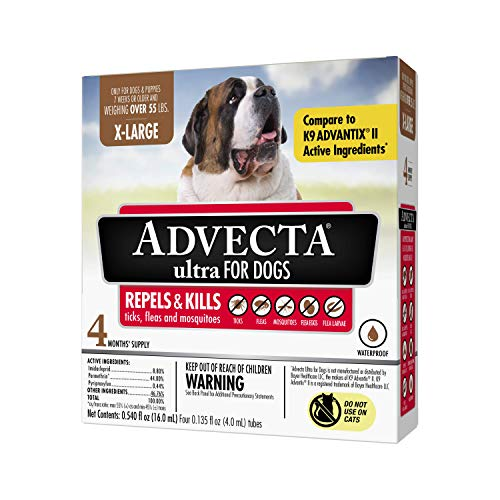 Advecta Ultra Flea and Tick Topical Treatment Flea and Tick Control for Dogs XLarge over 50lbs 4 Month Supply