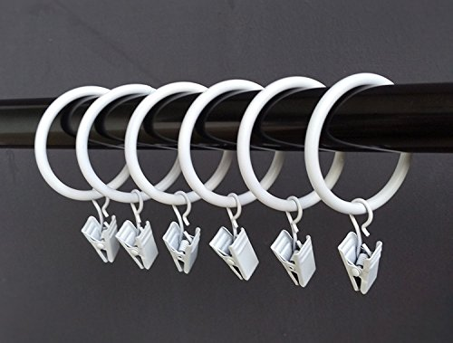 """T-Juan MM (1.25"""") 1.25 Inches Smooth Metal Curtain Rings with Clips (White) (40)"""