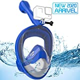 Avoalre Full Face Snorkel Mask Advanced Safety Breathing System Portable 180° Panoramic View Snorkeling Mask with Camera Mount,Safe Breathing,Anti-Leak&Anti-Fog Snorkel Mask for Adult S/M (Blue)