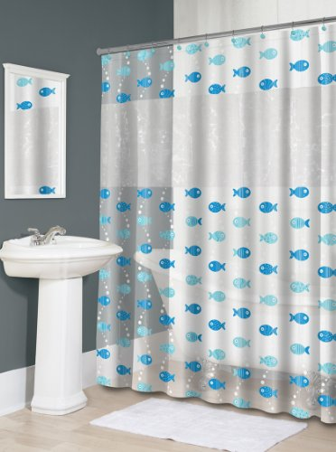 aqua blue cartoon fish shower curtain