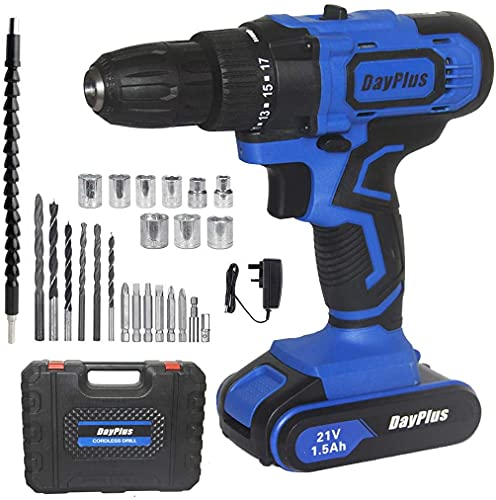 Powerful Cordless Drill Set & Screwdriver w/Battery, 21V 45N.m Impact Power Tool, Fast Charger, 18 + 1 Torque Setting w Quick-Release Drill Chuck, 2-Speed with 29pcs Accessories