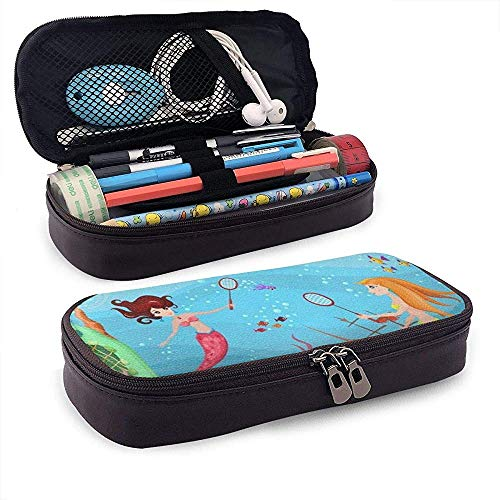 Fantasy Design Mermaid PU Leather Pen Pen Case 20 * 9 * 4 cm (8X3.5X1.5 Inches) Pouch Bag College Supplies Porte-monnaie Cosmetic Bag