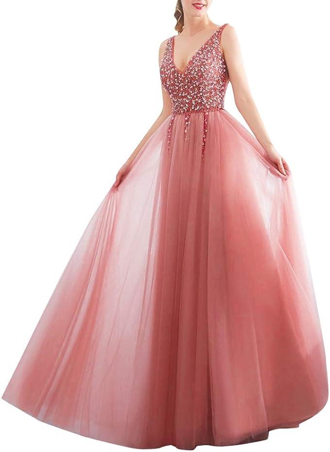 Lihaei Damen Abendkleider Elegant Fur Hochzeit Lang V Ausschnitt Kleider Pink Partykleider Sexy Cocktailkleider Pailletten Glitzer Brautkleider Hochzeitskleider Amazon De Bekleidung