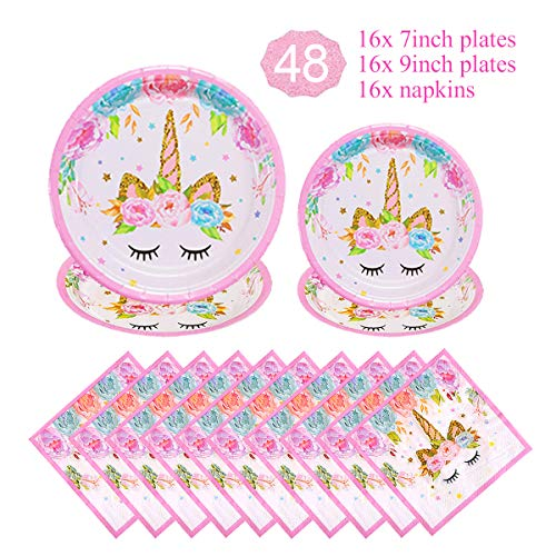 Unicorn Themed Party Supplies Decorations Set for Girls Children Birthday Party,Unicorn Plates and Napkins Set,Paper Disposable Tableware Set,Party Table Decoration for Baby Shower,Serves 16 Guests