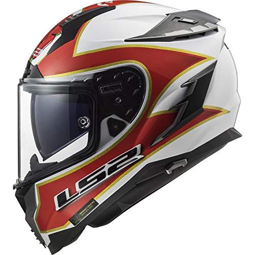 LS2 FF327 Challenger Foggy TT Casco de Motocicleta, Blanco y Rojo, XXX