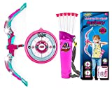 Toysery Bow and Arrow for Kids with LED Flash Lights,Archery Bow with 6 Suction Cups Arrows, Target, and Quiver - Great Outdoor Toys for Girls and Boys, Safest Outdoor Kids Toys for Backyard - Pink