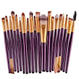 Kolight20 Pcs Pro Makeup Set Powder Foundation Eyeshadow Eyeliner Lip Cosmetic Brushes (Purple+Gold)