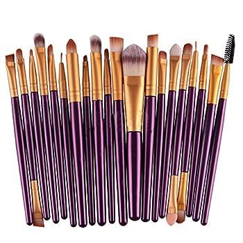 Kolight20 Pcs Pro Makeup Set Powder Foundation Eyeshadow Eyeliner Lip Cosmetic Brushes  Purple+Gold