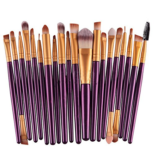 Kolight20 Pcs Pro Makeup Set Powder Foundation Eyeshadow Eyeliner Lip Cosmetic Brushes (Purple+Gold)