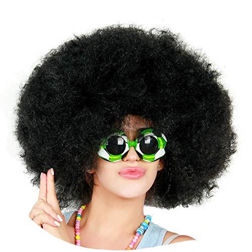 Payasos y fanáticos de fútbol Súper Gran Peluca de Cabeza explosiva, Pelucas Afro mullidas rizadas, Pueden usarse como Pelucas de Disfraces para una Fiesta de Disfraces,Negro