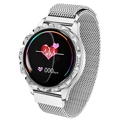 FVIWSJ Reloj Inteligente con Esfera Personalizada,Relojes Inteligentes Mujer,Pantalla Táctil Resistente Agua, Rastreador Actividad Deportiva,Contador Calorías,para iOS,Android,Blanco