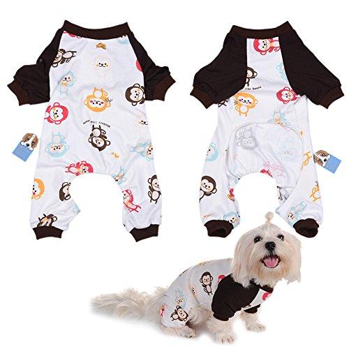 Per Animaux Chien/Chiot/Chihuahua Pyjama avec Mignonne Singe et Quatre Pieds Conception pour Les Moyennes et Petits Chiens - XS/S/M/L/XL