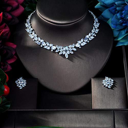 AMINIY Clear Zirconia Pequeña Flor 18kwg AAA Cubic Zircon Joyas De Boda Juego Pendientes Collar (Color : Silver)
