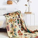 ARIESDY Colcha bohemia de algodón étnico indio, reversible, tapiz, colcha impresa, colcha de sofá, colcha de patchwork, manta de punto, 180 x 230 cm, bohemia
