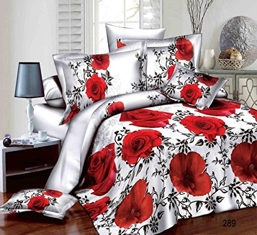 Prime Linens 3D 4 PIECES COMPLETE BEDDING SET INCLUDES 1 DUVET COVER/QUILT COVER 1 FITTED SHEET 2 OXFORD STANDARD PILLOW CASES (Poppy Rose - 289, King)