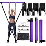 Pilates Bar Kit with Resistance Bands(20&30lbs),Compact 3-Section Exercise Sticks Bar and Stacked Bands for Stretched Fusion Fitness,Portable Home Workout Equipment for Women Toning Muscle,Legs,Butt