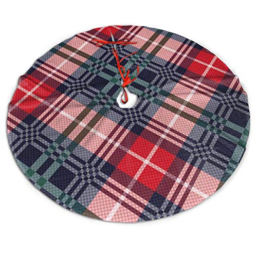 AEMAPE Scots Style Tartan Plaid Fashion Personality Themed Round Christmas Xmas Tree Skirt Carpet Mat Rugs Pad Party Favors Supplies Home Ornament Decoration 36'