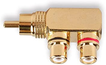 HTTX RCA Male to 2 Female Splitter Connector Adapter for Audio Speaker Subwoofer Connection