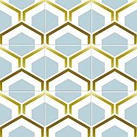 幾何学スタイルのタイルキッチンバスルームインテリア・GOLD BLUE(20枚/セット)用ステッカーデカール8X8インチピールスティックウォールbacksplashの、防水耐油性ウォールステッカー,#29