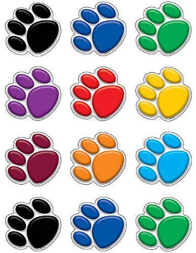 Teacher Created Resources Mini Accents, Colorful Paw Prints (5116),Multi Color