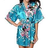 VILLAVIVI Vestido Párrafo Corto Mujer Kimono Pavo Flores Satén Albornoces Pijamas (L, Lago Azul)