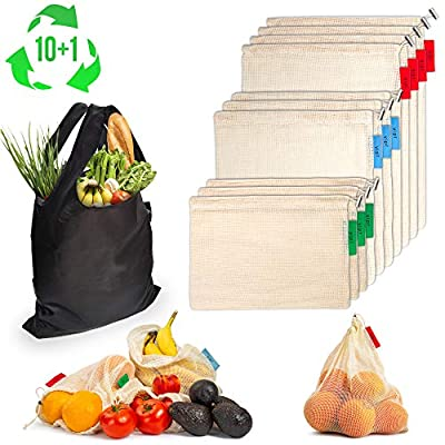 Reusable Produce Bags w/Reusable Grocery Bag 11-Piece Set (4 Large, 3 Medium, 3 Small) Organic Cotton Mesh   Transport, Store & Organize Fruits and Vegetables   Color-Coded, Washable, Durable Eco Bag