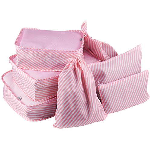Kleidertaschen 7 Teiliges Set, Slimfone Packing Cubes| Packwürfel Packtaschen für Taschen OrganiserKoffer Pink
