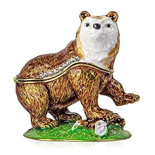 YU FENG Joyero decorativo con diseño de oso marrón con bisagras y cristales pintados esmaltados, coleccionables