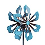 hourflik Solar Kinetic Wind Spinners with Stable Stake Metal Garden Spinner with Reflective Painting Unique Lawn Ornament Wind Mill for Outdoor Yard Lawn Garden Decorations