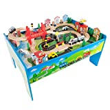 6. Wooden Train Set Table for Kids, Deluxe Had Painted Wooden Set with Tracks, Trains, Cars, Boats, and Accessories for Boys and Girls by Hey! Play!