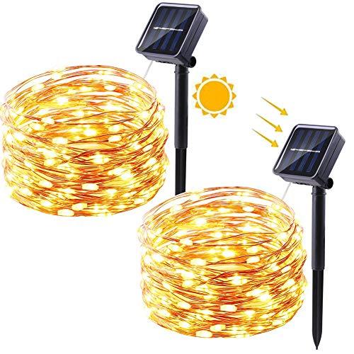 Qedertek Solar Lichterkette Aussen, 2 Stück 12M 100 LED Kupferdraht Weihnachtsbaum Lichterkette, 8 Modi Wasserdicht Solarlichterkette, Weihnachtsbeleuchtung außen (Warmweiß)