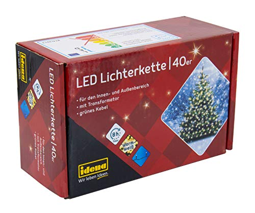 Idena 8325056 - LED Lichterkette mit 40 LED in warm weiß, mit 8 Stunden Timer Funktion, Innen und Außenbereich, für Partys, Weihnachten, Deko, Hochzeit, als Stimmungslicht, ca. 11,9 m