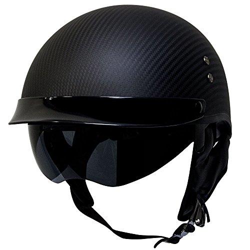 Voss 888CF Genuine Carbon Fiber DOT Half Helmet with Drop Down Sun Lens and Metal Quick Release - L - Matte Carbon