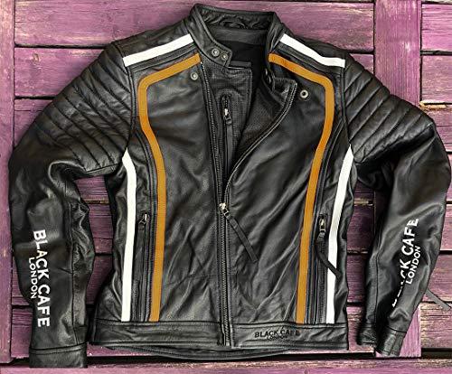 Black-Cafe London Seoul Motorrad Lederjacke Schwarz/Weiß/Orange 56
