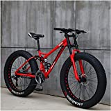 FHKBK Fat Tire Hardtail Mountain Bike Bicicleta de montaña de 24 Pulgadas con Freno de Disco Doble y suspensión, Bicicletas Alpinas de Acero con Alto Contenido de Carbono, Asiento Ajusta