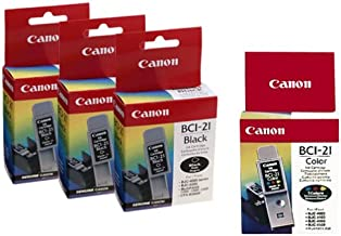 Canon BCI-21 Ink Cartridges (5 Pack, 3 Black and 2 Color)