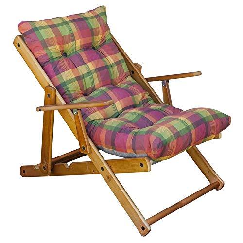 Sedia Sdraio Harmony Relax, in legno pieghevole, cuscino imbottito