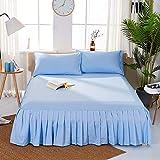 Hllhpc Cubierta de Cama de una Sola Pieza con Falda de Cama de Color Liso Cubierta de Cama de Lijado de 1,8 m