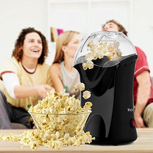 Alsideso Popcorn Maker - Macchina per popcorn ad aria calda automatica, 1200 W, con misurino e coperchio amovibile Nero 1-1.