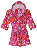 Komar Kids Ocean Print Cotton Hooded Terry Robe Cover Up, Sizes 4-12 (Small / 5-6, Pink/Flamingo)