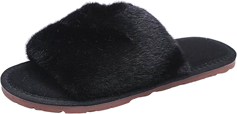 New arrival USYFAKGH Womens Faux Fur Sale price Slippers Warm Fussy Sli Flop House Flip