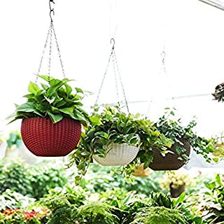 Plastic Plant Pot With Hanging Chain, Maroon, Medium, 3 Pieces