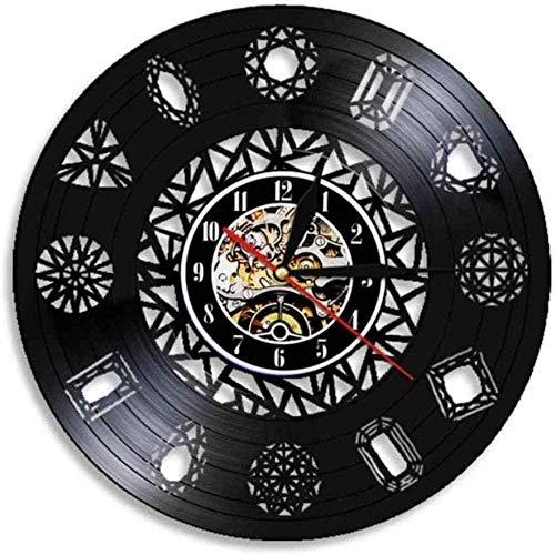 Reloj de Pared Tienda de Joyas Reloj de Pared con Diamantes Reloj de Pared con Gemas de Cristal Cúmulo de Rocas Arte Natural Reloj de Pared con Disco de Vinilo de Diamante 30 × 30Cm