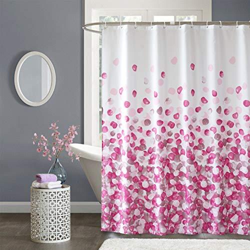 Ufelicity Duschvorhang in Badewannengröße, stilvoller, ungiftiger Polyester-Badevorhang, wasserabweisend, rosa Blütenblätter, Design Duschvorhang, verblasst nicht, mit Haken für Duschkabine