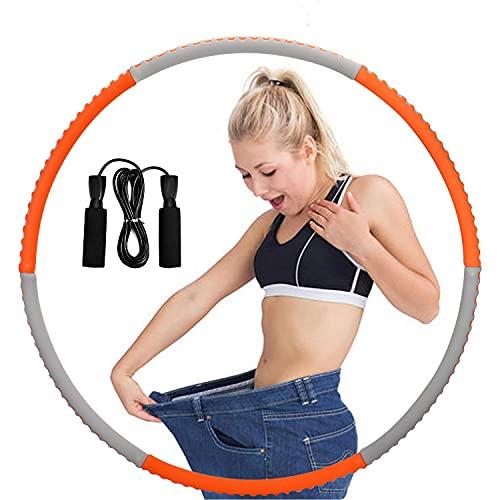 Queta Hula Reifen Erwachsene Gewichtsverlust Edelstahl Schwamm Dünne Taille einmassieren Hulahooopreifen für Erwachsene Kinder Fitness 6 Abschnitte orange+ schwarz Springseil