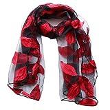 GOMYIE Damen Sonnenschutzschals Wraps Leichtes Blumenmuster für Kopftuch,rot1