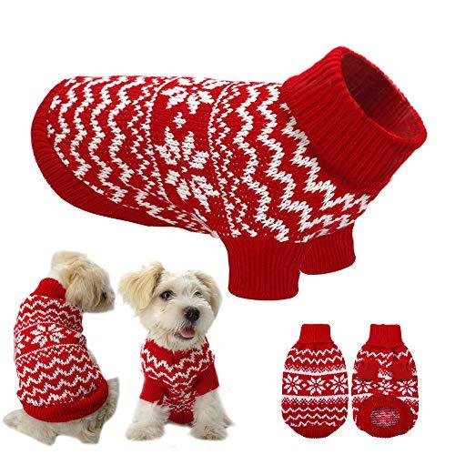 Ducomi Hearts gebreide trui voor honden en puppy's van zacht en warm kerstgaren en hart - trui voor honden voor kleine en middelgrote kostuums - cadeau-idee voor Kerstmis, S, Rood