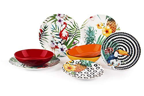 Excelsa Tropical Chic Servicio de platos 18 piezas, porcelana, multicolor