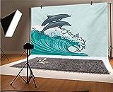 Sea Animals - Fondo de vinilo para fotógrafos de 20 x 10 pies, diseño de olas que fluyen en el agua, mar y dos delfines, fondo de verano para fiestas, decoración del hogar, decoración al aire libre